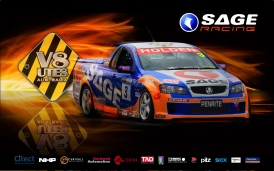 Graphic - Photographic assembly of components presenting V8 Ute racing Australia - SAGE Racing desktop screensaver
